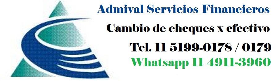 Admival Cambio de cheques